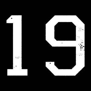Zahl 19 Nummer Neunzehn 19. Geburtstag Neunzehnter