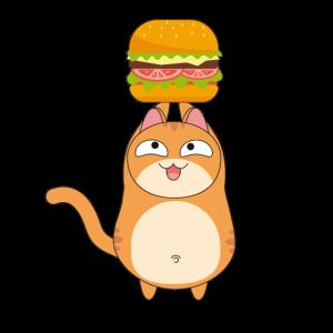 Mollig Katze bekommt einen Burger