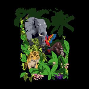 Dschungel Tiere Elefant Tiger Papagei