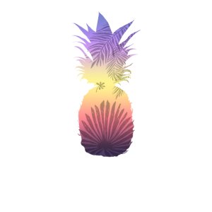 Niedliche Ananas-bunte Sonnenuntergang-stilvolle Palme