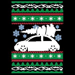 Hässliche Weihnachtsauto-Baum-Schneeflocken