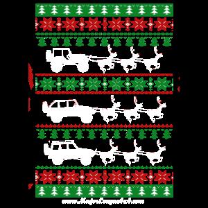 Hässliches Weihnachtsbaum-Schneeflocke-Auto-Ren