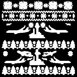 Hässliche Weihnachtsflugzeug-Pilot Trees Snowflakes
