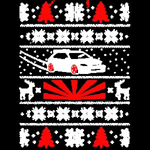 Hässliches Weihnachtsbaum-Schneeflocke-Ren-Auto