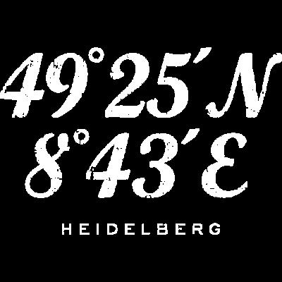 Heidelberg Koordinaten Vintage Weiß - Die Heidelberger Koordinaten mit dem Längengrad und dem Breitengrad der Stadt Heidelberg. - urlaub,segler,segeln,reisen,reise,navigation,längengrad,koordinaten,heidelberger,heidelberg,geschenkideen,geschenkidee,geschenke,geschenk,geocaching,geocacher,ferien,breitengrad