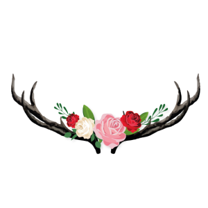 Hirschgeweih mit Blumen