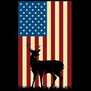 Deer Hunting American Flag