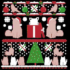 Hässliche Weihnachtsverzierungs-Katzen-Baum-Schneeflocken