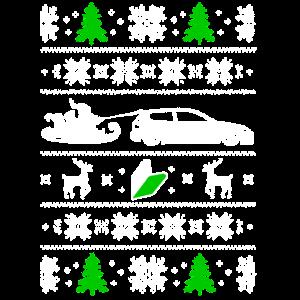 Hässliche Weihnachtsbäume Santa Sleigh Car Reindeer