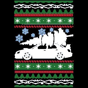 Hässlicher Weihnachtsbaum-Schneeflocke-Rennwagen