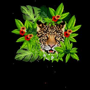 Jaguar-große Katzen-Gesichts-tropische Blätter mit Blumen