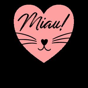 Miau Niedliche Katze im Rosa Herz Katzenliebhaber