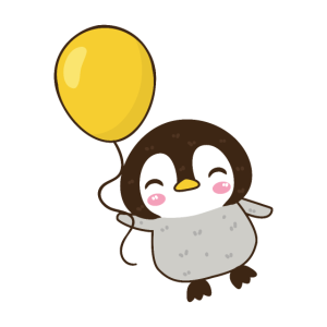 Baby Pinguin mit Ballon glücklich niedlich