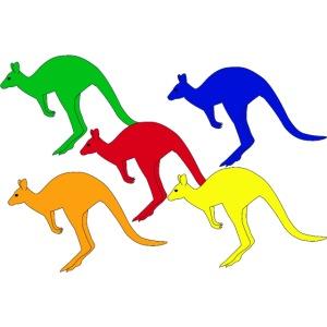 Farbige Känguruhs