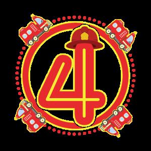 4. Geburtstag 4 Jahre alt Feuerwehr Feuerwehrauto
