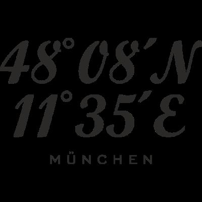 München Koordinaten (Schwarz) - München Koordinaten mit dem Längengrad und Breitengrad der Stadt München - wandern,urlaub,skipper,segler,segeln,segelboot,reisen,outdoor,navigation,navi,münchner,münchen,muenchen,längengrade,längengrad,koordinaten,breitengrade,breitengrad,boot,biking,biker,bergsteigen