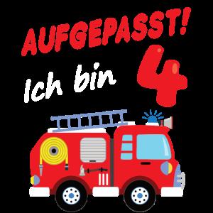 Feuerwehrauto 4. Geburtstag 4 Jahre Geschenk