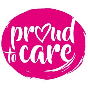 Für stolze Pflegeprofis: proud to care - Logo rund