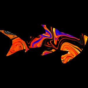 Hammerhai Haifisch aus Lava mit Farbverlauf