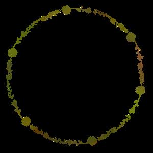 Kranz mit Blumen und Zweigen