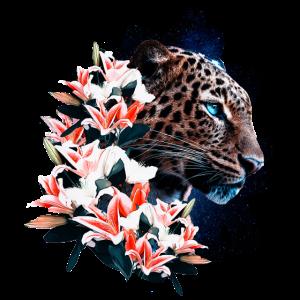 Leopard mit Blumen | Yolo-Artwork