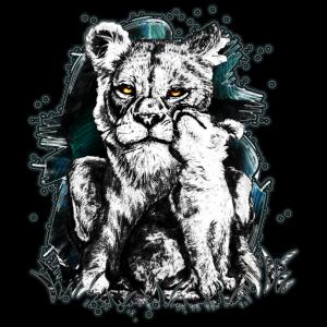 Löwin mit Löwenbaby   Yolo-Artwork
