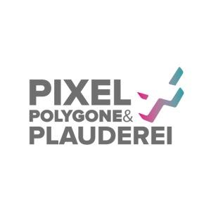 Pixel Polygone Plauderei Logo Grau