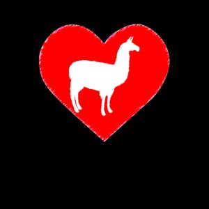 Lama Herz Alpaka Liebe I Love
