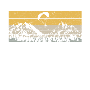 Retro Paragleiter mit Bergen