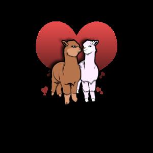 Llamas Love Heart Couple Lama Liebe Alpaka Herz