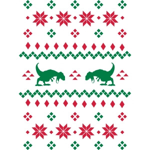 Christmas Pattern T Rex