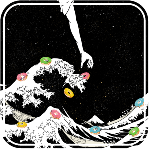 The great wave funny donut illustration