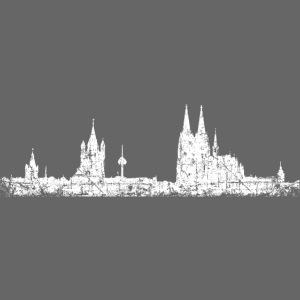 Stadt Köln Kölner Skyline (Vintage Weiß)