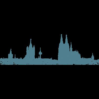 Stadt Köln Skyline Vintage Blau - Die Kölner Skyline mit Rathaus, Groß St. Martin, Fernsehturm Colonia, Kölner Dom und St. Mariä Himmelfahrt. - zeichnung,stadtansicht,stadt köln,panorama,kölsches graffity,kölscher style,kölsche ansicht,kölsch,kölnpanorama,kölnkunst,kölner dom,kölnbilder,kölnbild,köln am rhein,köln,kölle illustration,kunst,koeln,colonia zeichnung,cologne cathedral,bilder,bild