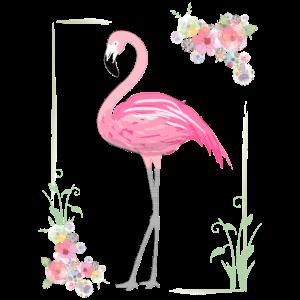 Flamingo mit Blumen Umrahmung