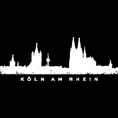 Köln am Rhein Kölner Skyline (Vintage Weiß) - Die Kölner Skyline mit Rathaus, Groß St. Martin, Fernsehturm Colonia, Kölner Dom und St. Mariä Himmelfahrt. - zeichnung,stadtansicht,stadt köln,panorama,kölsches graffity,kölscher style,kölsche ansicht,kölsch,kölnpanorama,kölnkunst,kölner dom,kölnbilder,kölnbild,köln am rhein,kölle illustration,kunst,koeln,colonia zeichnung,cologne cathedral,bilder,bild,Köln,KÖLN