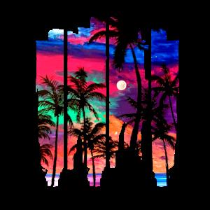 Beach Brush Strand Sonnenuntergang Palmen bunt