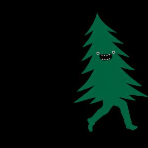 Lustiger Weihnachtsbaum vom Holzfäller gejagt