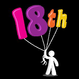 18. Geburtstag Achtzehn Erwachsen Volljährig