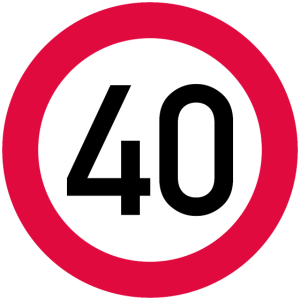 40. Geburtstag Achtung! Verkehrsschild 40 Km/h
