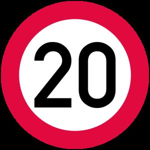 20. Geburtstag Achtung! Verkehrsschild 20 Km/h