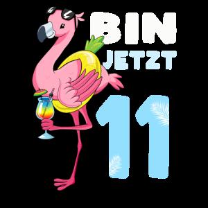 Bin jetzt 11 Flamingo Geschenk 11. Geburtstag
