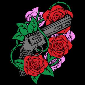Waffe Pistole Revolver mit Rose Rosen