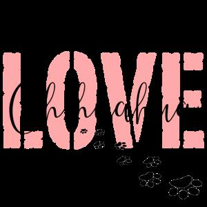 LOVE Chihuahua rosa schwarz