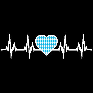 Bayern Herzschlag EKG Oktoberfest Herz Blau Weiss
