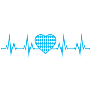 Bayern Herzschlag Oktoberfest EKG Herz Blau Weiss