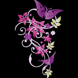 Schmetterlinge Blumen Sommer Blätter Pastell