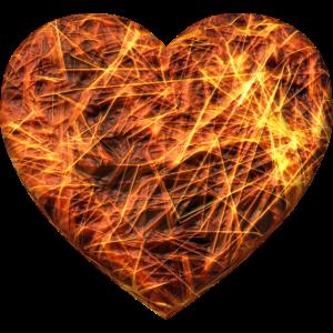 Herz steht in Feuer und Flammen