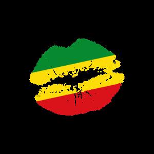 Rastafari Lippen Rasta Flagge Kuss Liebe Geschenk