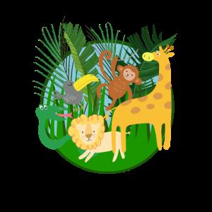 Lustige comic Dschungel Tiere